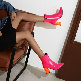 Ericdress Pointed Toe Color Block Chunky Heel Western Boots