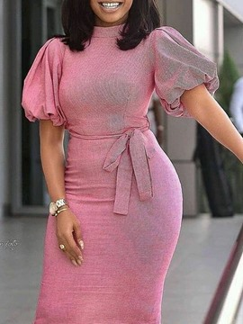 Ericdress Women's Plus Size Short Sleeve Stand Collar Mid-Calf Office Lady High Waist Dress