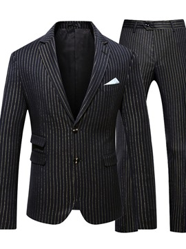 Ericdress Single-Breasted Stripe Pants Men's Dress Suit