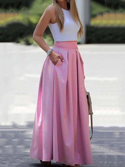 Ericdress Plain Pleated Floor-Length High Waist Casual Women's Skirt