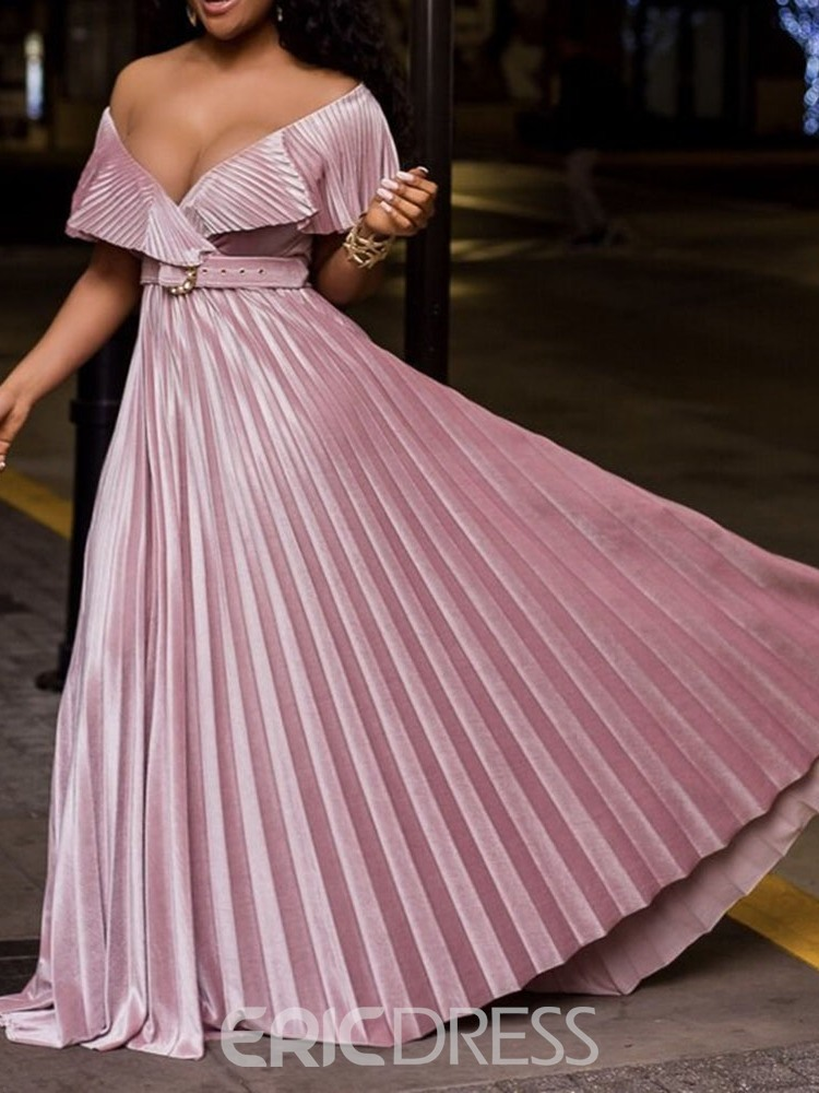 Ericdress Short Sleeve Pleated Floor-Length High Waist Pullover Women's Dress