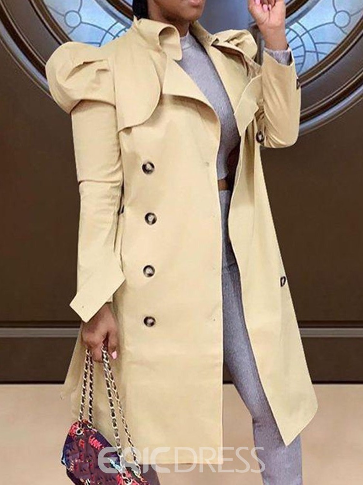 Ericdress Lapel Button Long Fashion Long Sleeve Women's Trench Coat