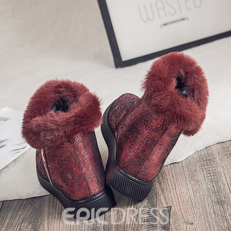 Ericdress Side Zipper Letter Round Toe Sweet Boots