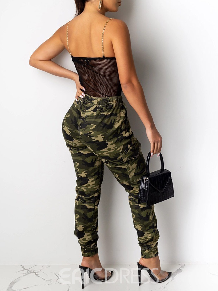 Ericdress Slim Print Camouflage Pencil Pants Full Length Casual Women's Pants
