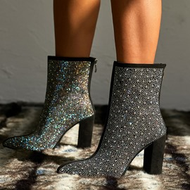 ericdress bottines à talon épais zippé au dos bout pointu en strass