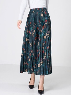 Ericdress Print Plissee Mid-Wade Vintage Damenrock mit hoher Taille