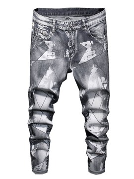Ericdress Pencil Pants Print Zipper European Men's Jeans
