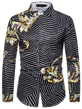 Ericdress Casual Floral Print Men's Slim Fall Shirt