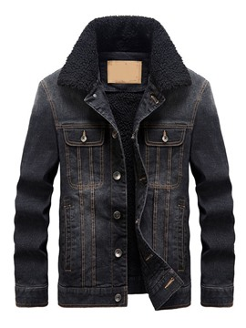 Ericdress Plain Lapel Pocket Winter Men's Slim Jacket