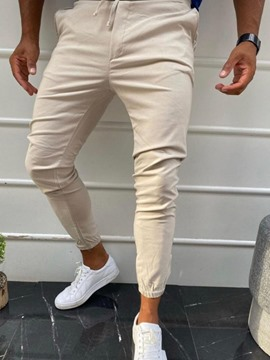 Ericdress Pencil Pants Plain Men's Mid Waist Casual Pants