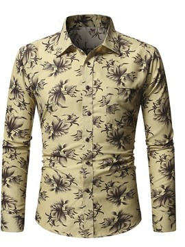 Ericdress Men's Lapel Print Casual Single-Breasted Shirt