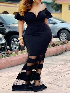 Ericdress Plus Size Floor-Length Mesh Short Sleeve High Waist Women's Sexy Dress