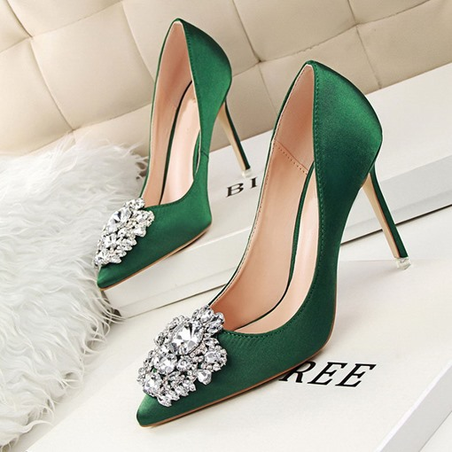 Ericdress Rhinestone Pointed Toe Stiletto Heel Plain Thin Women's Shoes Pumps