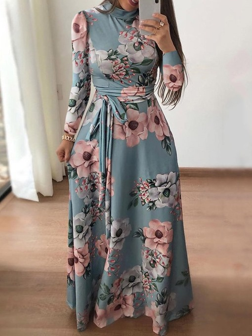 Ericdress Long Sleeve Floor-Length Lace-Up Color Block Pullover Women's Dress