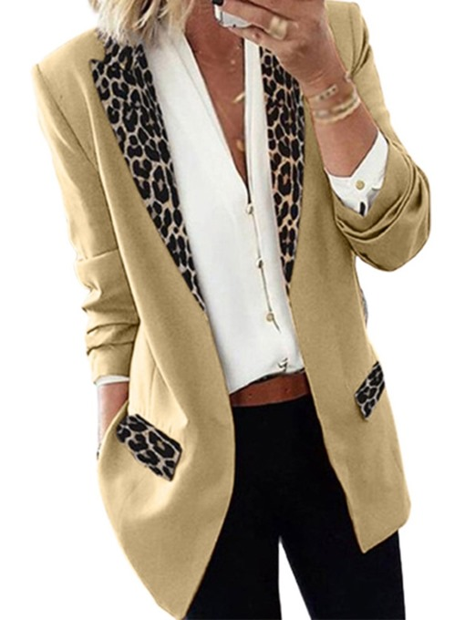 Ericdress Lapel Leopard Wrapped Fall Mid-Length Casual Women's Blazer