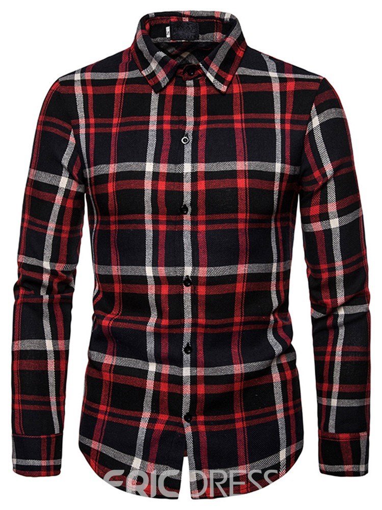 Ericdress Lapel Casual Print Men's Fall Shirt