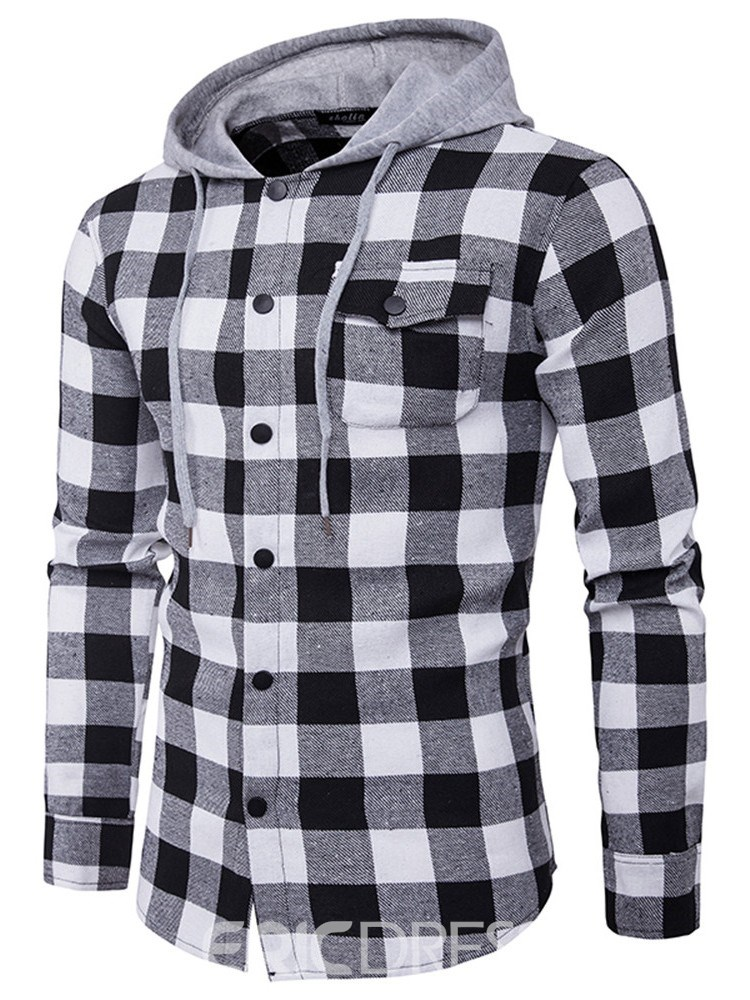 Ericdress Plaid Casual Pocket Fall Single-Breasted Men's Shirt