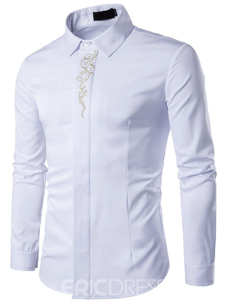 Ericdress Lapel Floral Embroidery Men's Slim Spring Shirt
