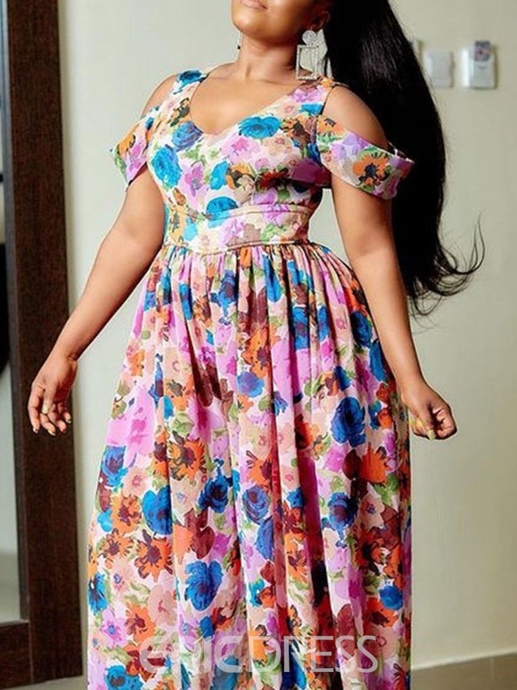 Ericdress Plus Size Print Floor-Length Short Sleeve Floral Pullover Women's Dress