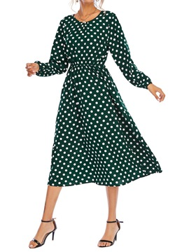 ericdress patchwork col rond manches longues automne robe à pois