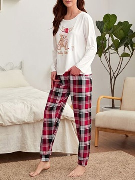 Ericdress Print Casual Cartoon Round Neck Sleep Top Pajama Suit