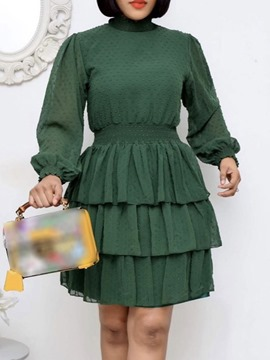 Ericdress Long Sleeve Stand Collar Above Knee Layered Dress Women's Dress