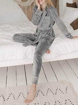 Ericdress Polyester Casual Pocket Sleep Top Regular Pajama Suit