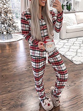 Ericdress Polyester Print Plaid Sleep Top Lapel Pajama Suit