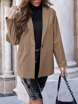 Ericdress Notched Lapel Plain Long Sleeve Fall Mid-Length Casual Women's Blazer