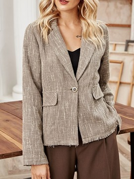 Ericdress Plain Long Sleeve Notched Lapel Standard Fall Casual Women's Blazer