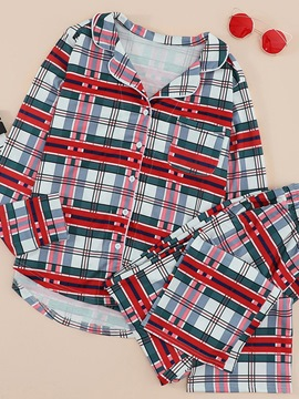 Ericdress Polyester Plaid Button Lapel Regular Pajama Suit