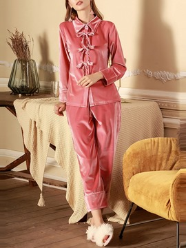 Ericdress Plain Polyester Bowknot Regular Single-Breasted Pajama Suit