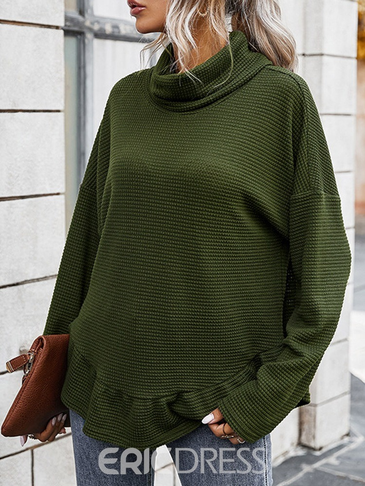 Ericdress Long Sleeve Turtleneck Plain Loose Fall Women's T-Shirt