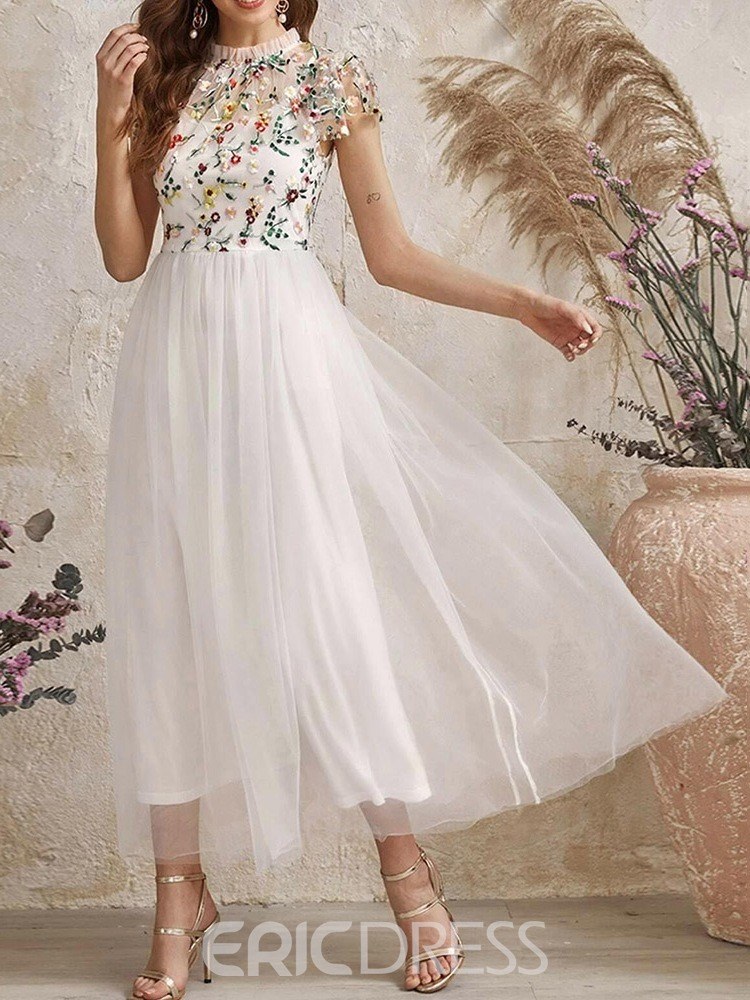 Ericdress Ankle-Length Embroidery Short Sleeve Women's Pullover Dress
