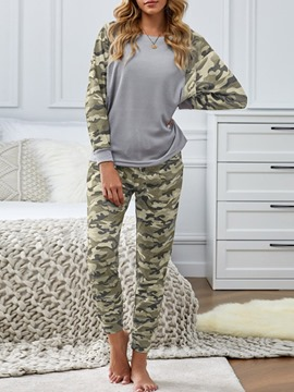 Ericdress Camouflage Lace-Up Casual Long Sleeve Sleep Bottom Pajama Suit
