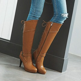 Ericdress Plain Stiletto Heel Round Toe Buckle Boots