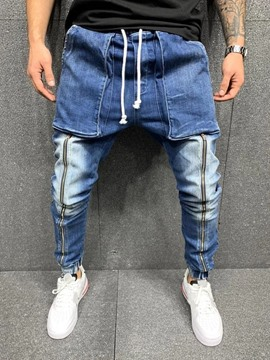 Ericdress Pencil Pants Zipper Lace-Up European Men's Jeans