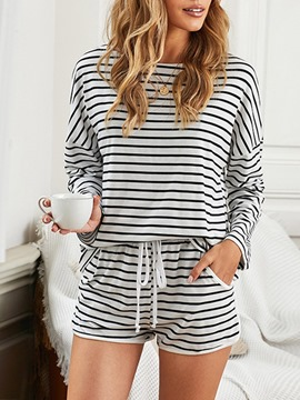 Ericdress Stripe Lace-Up Sleep Bottom Long Sleeve Pajama Suit