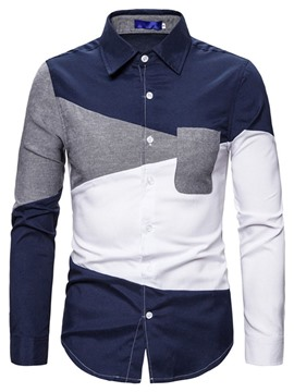 Ericdress Color Block Casual Patchwork Men's Slim Fall Shirt