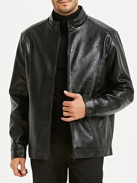 Ericdress Standard Stand Collar Plain Zipper Loose Leather Men's Jacket