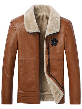 Ericdress Lapel Standard Zipper Appliques Leather Men's Jacket