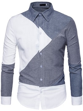 Ericdress European Color Block Lapel Single-Breasted Men's Slim Shirt