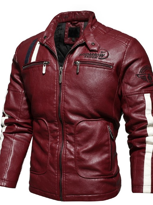 Ericdress Color Block Stand Collar Standard Winter Casual Leather Men's Jacket
