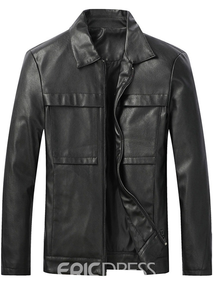 Ericdress Lapel Plain Standard European Zipper Leather Men's Jacket