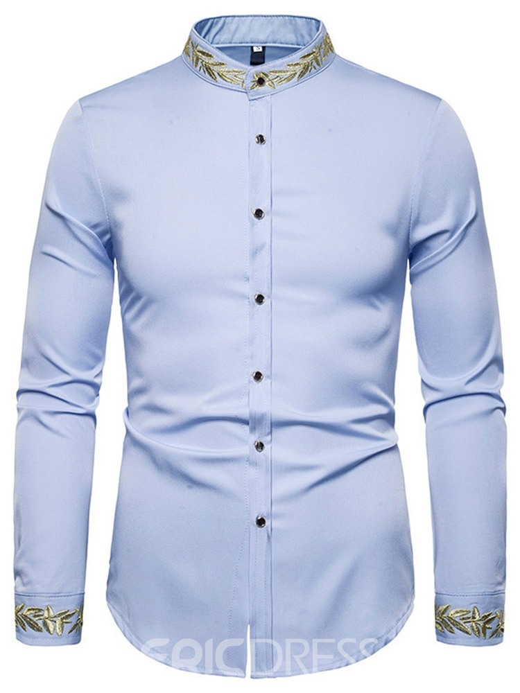 Ericdress Embroidery Stand Collar Men's Slim Spring Shirt