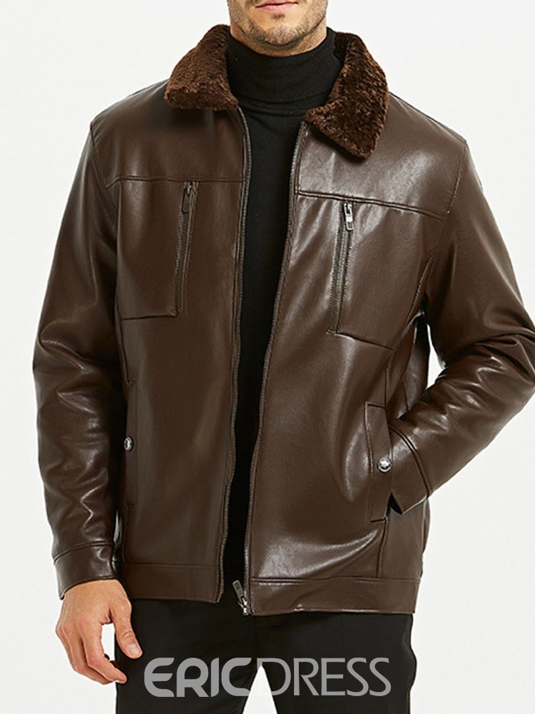 Ericdress Standard Plain Lapel Zipper Men's Leather Jacket