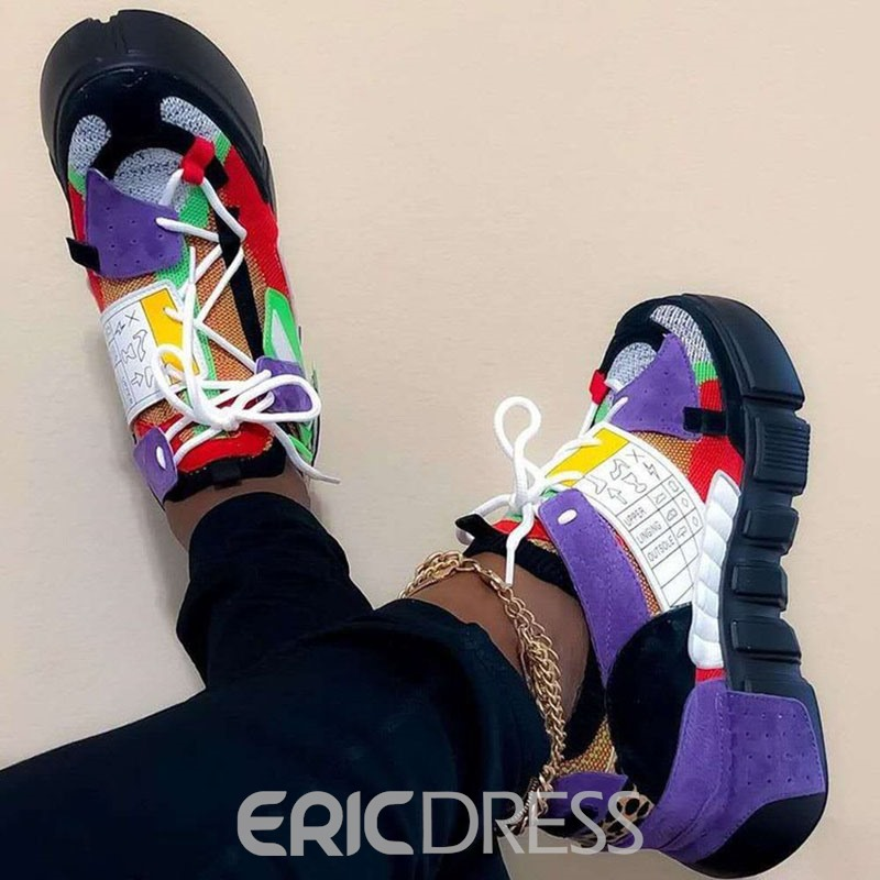 Ericdress Round Toe Platform Lace-Up Patchwork Sneakers