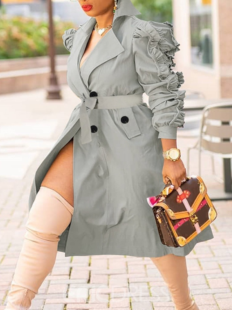 Ericdress Double-Breasted 3D Notched Lapel Hemline/Peplum Fall Women's Trench Coat