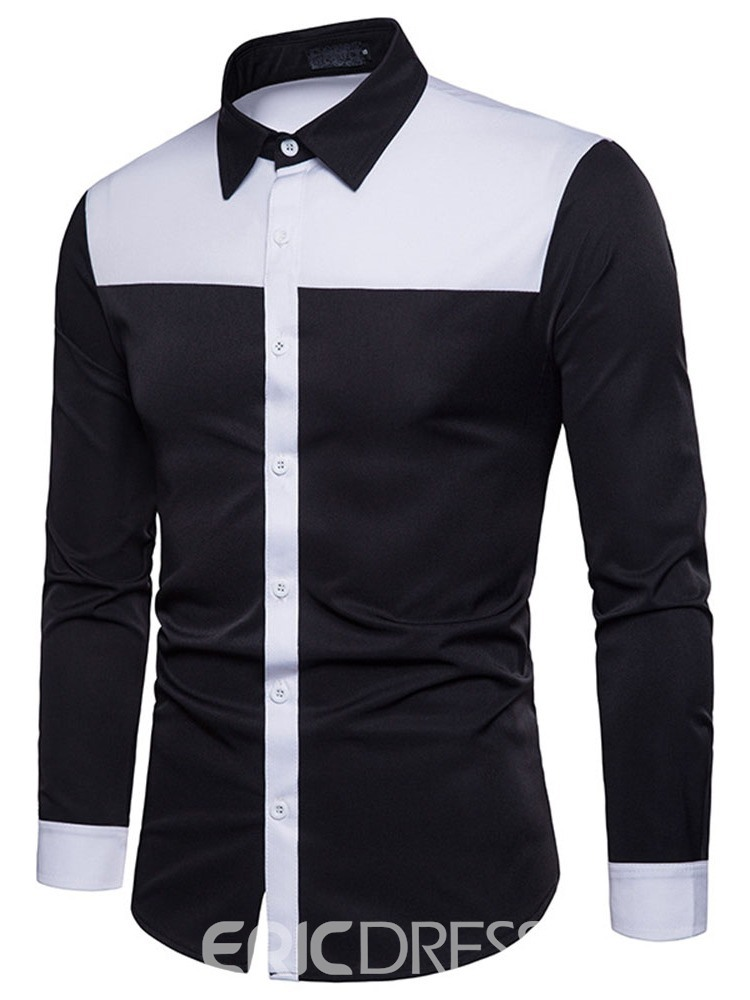 Ericdress Casual Lapel Patchwork Men's Slim Single-Breasted Shirt
