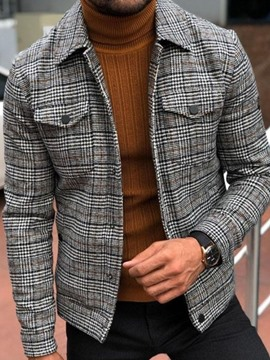 Ericdress Pocket Plaid Lapel Fall Men's Slim Jacket